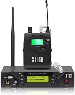 XTUGA BK510 Single Channel In Ear Monitor System UHF 100-Channel Wireless Professional In-Ear Monitor System USB and White...