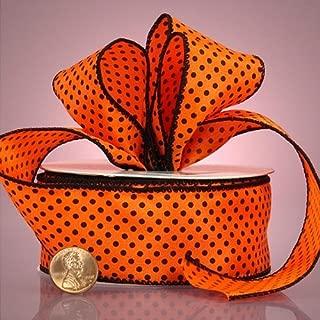 Orange And Black Mini Polka Dot Ribbon, 1-1/2