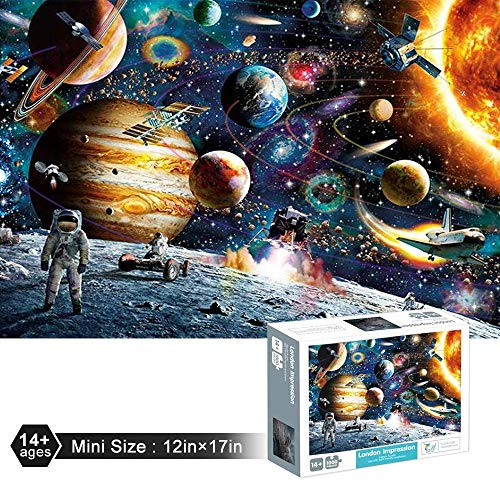 OZMI Jigsaw Puzzles 1000 Pieces for Adults and Kids, Space Traveler Adult Jigsaw Puzzles, Planets in Space Jigsaw Puzzles 1000 Pieces, Puzzles for Kids, Mini Size (12in x 17in)