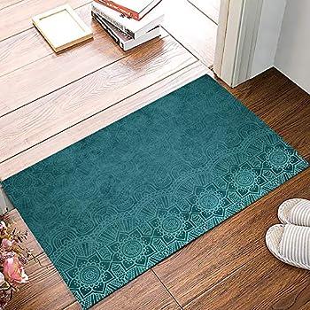 Welcome Doormats for Entrance Way Aqua Teal Mandala Floral Turquoise Indian Boho Ethnic Style Non-Slip Indoor Area Runner Rugs Rubber Floor Door Mat Home Decor for Kitchen Bedroom Living Room
