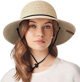 Womens Wide Brim Sun Hat with Wind Lanyard UPF Beach Summer Sun Straw Hats for Women