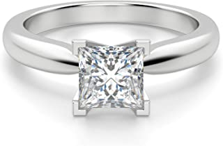 JEWELERYIUM Tiffany Style Solitaire Ring, Princess Cut 2.00Ct, VVS1 Clarity, Colorless Moissanite Diamond, 925 Sterling Silver Ring, Engagement Ring, Wedding Gift