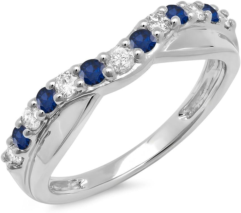 Dazzlingrock Collection 14K Gold Round Cut Blue Sapphire & White Diamond Ladies Anniversary Wedding Guard Contour Band