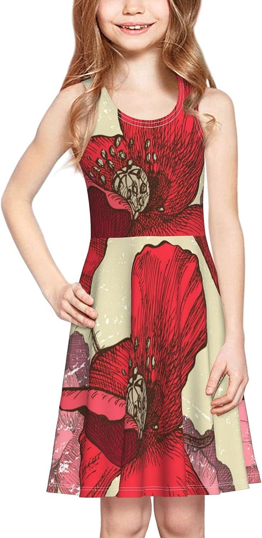 Vintage Poppy Flowers Dress Girl's Sleeveless Dress Casual Skirt Tank Dress