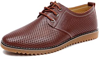 AiHua Huang Classic Oxfords for Men Business Casual Shoes Lace up Genuine Leather Flat Anti-Slip Vegan Breathable Perforated Round Toe (Color : Brown, Size : 7 UK)