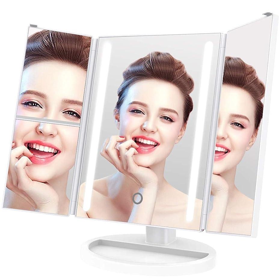 抽象化合意必要とする化粧鏡 化粧ミラーLightingWill 180°回転 鏡 ブライトミラー 三面鏡 女優ミラー 卓上 led付き 折りたたみ 拡大鏡 2&3倍 明るさ調節可能 電池&USB 2WAY給電
