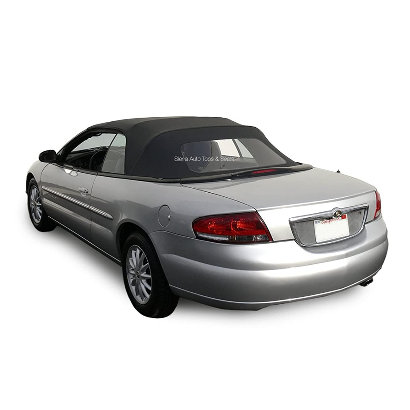 Sierra Auto Tops Convertible Soft Top Replacement, Chrysler Sebring 1996-2006, w/Plastic Window, Sailcloth Vinyl, Black