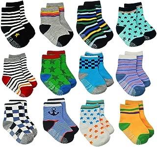 12 Pairs Toddler Non Skid Socks with Grips Anti Slip Bottom, Cotton Non Slip Ankle Crew Socks for Boys, Girls, Kids(1-7Years)