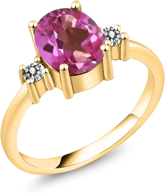 Gem Stone King 2.33 Ct Oval Diamond 18K Mystic Topaz White Pink Max In stock 64% OFF