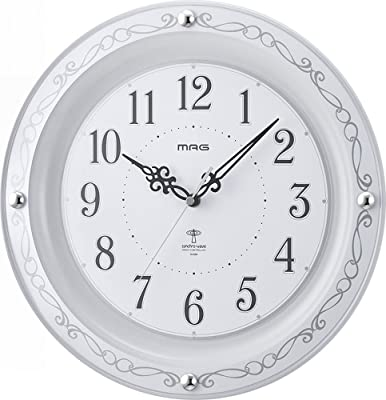 MAG(マグ) 掛け時計 電波 アナログ セルマン 直径31.5cm ホワイト W-664WH