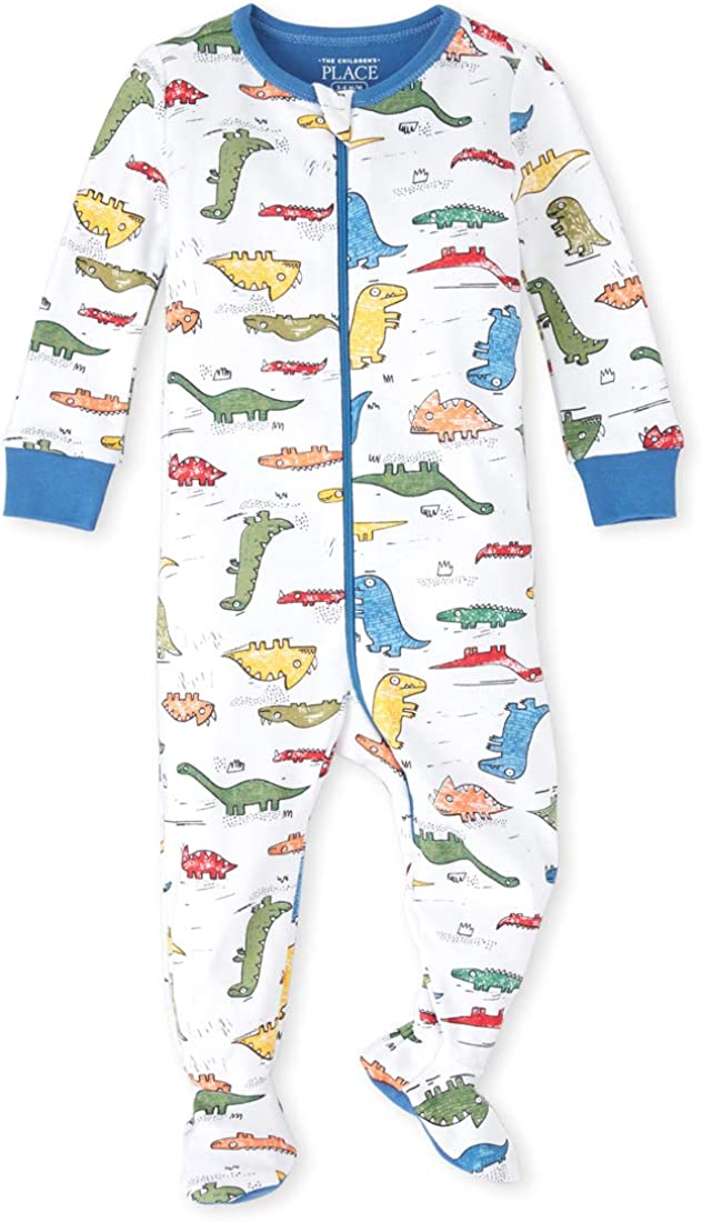 The Children's Place Baby Boys' Long Sleeve Footed Stretchie