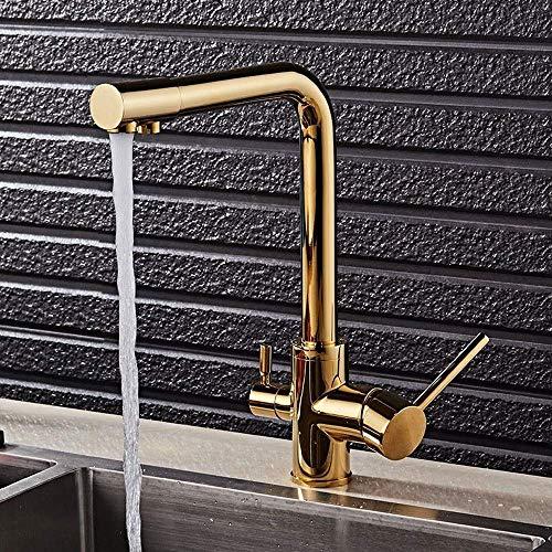 GIOAMH Purificador de agua de cocina de calor frío de bronce dorado de doble uso Grifo de agua para fregadero Grifo de agua giratorio de 360 ° Grifos de grifo de agua