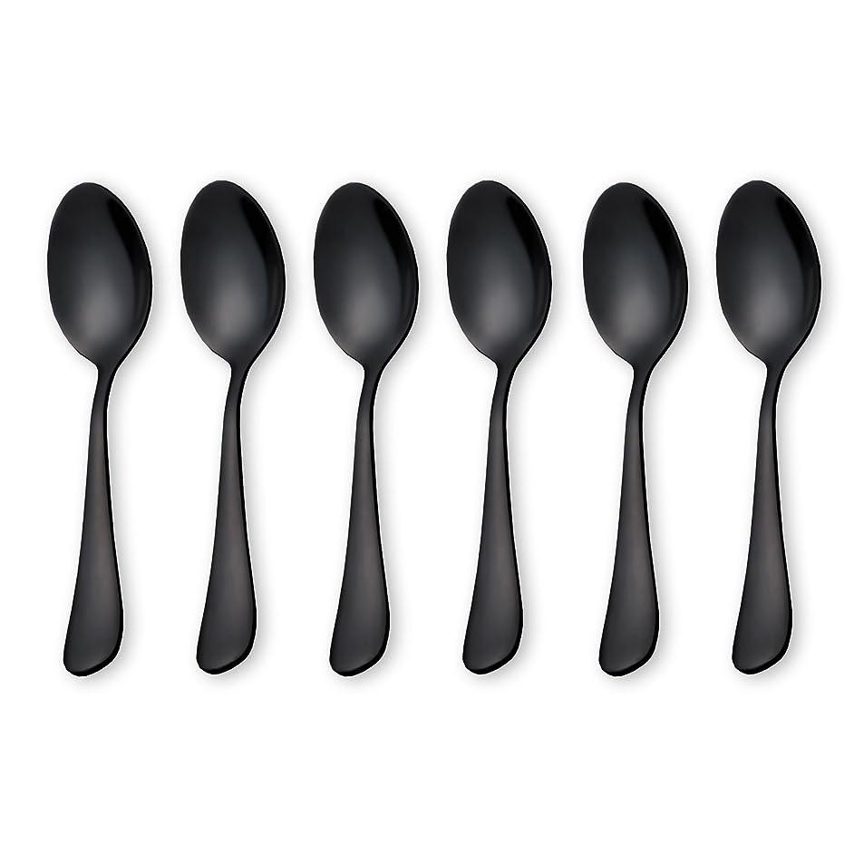 Black Coffee Scoops Teaspoons, Stainless Steel Mini Cake Spoons, Ice Cream Spoon, Small Spoons for Dessert, Set of 6 (Black-Coffee Scoops)
