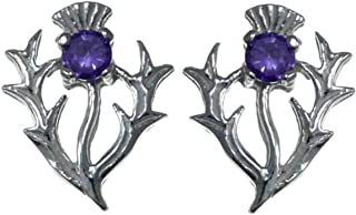 Sterling Silver Earrings Amethyst Thistle - Scottish