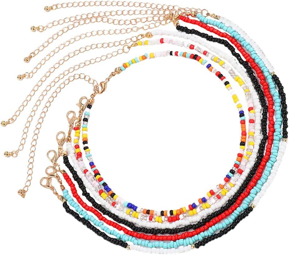 Generic 7pcs Bead Choker Necklace Adjustable Rice Beaded Necklace Adjustable Bead Chain Neck Jewelry for Women Party Favor Supplies