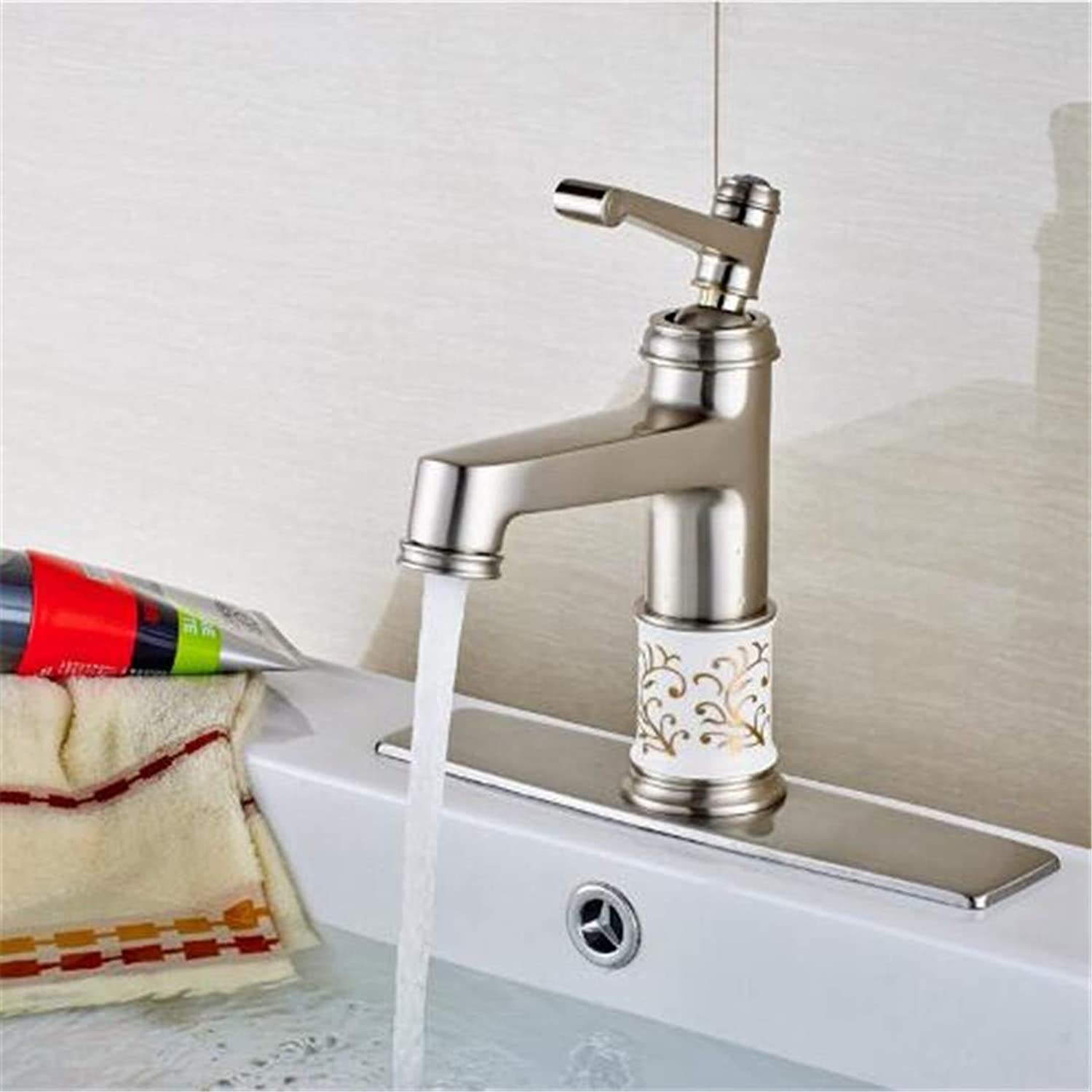 Oudan Bathroom Basin Faucet Kitchen Faucet Hot and Cold Taps Crossdeck Mount Brushed Nickel Ceramic Bath Faucet Mixer Tap with Square Cover Plate (color   -, Size   -)
