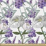 ABAKUHAUS Floral Gewebe als Meterware, Lavendel und Peony