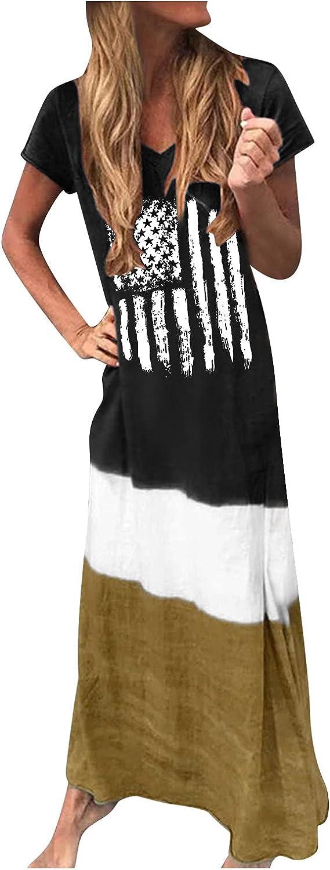 Casual Dress for Women,Women Dress Long,Womens Independence Day Beach Boho Sundress Ladies Loose Long Slip Dress