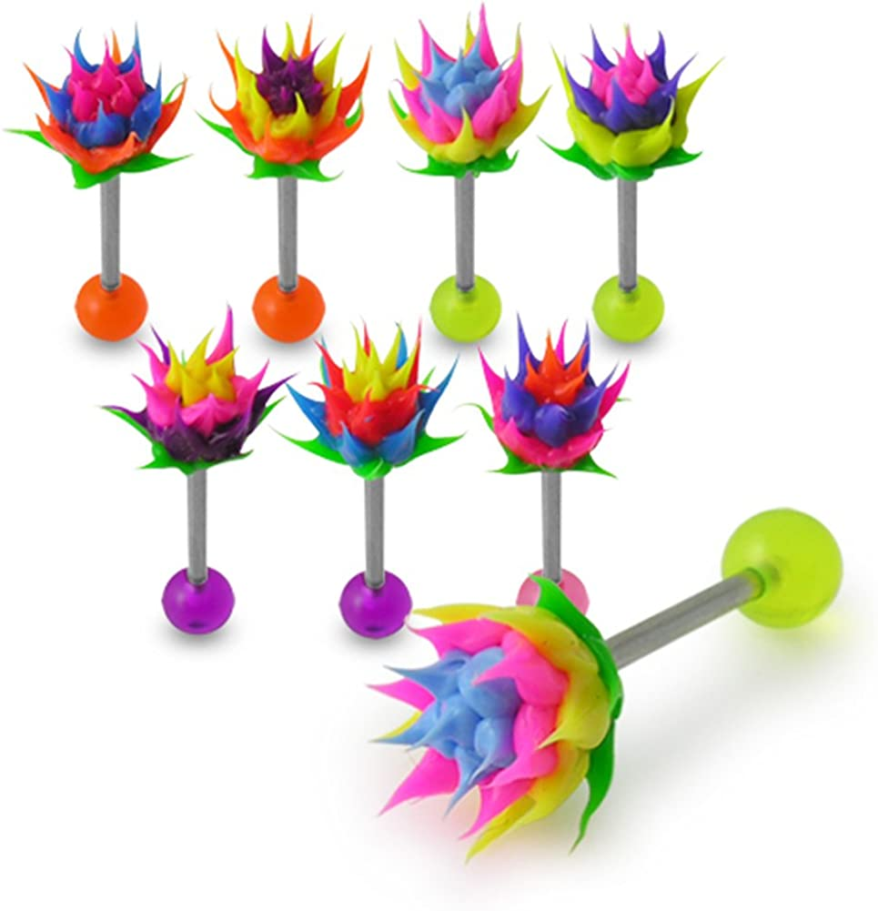 10 Pieces Pack of Spikey Silicone Flower with 14 Gauge 316L Surgical Steel Tongue Barbell