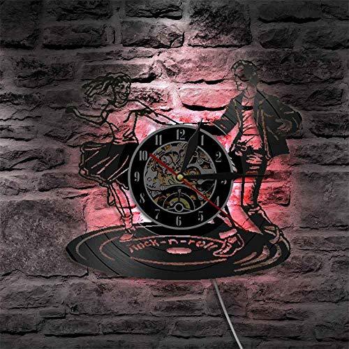 Disco de Vinilo Reloj Bailando Hombres y Mujeres 7 Colores con luz Reloj de Pared LED Relojes De Pared Decoración del hogar de la Sala de Estar 30cm con luz LED