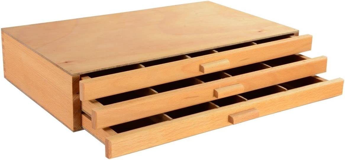 Displays2go 3-Drawer Wood Art Box New Orleans Max 75% OFF Mall for and Drawi Paints Charcoal