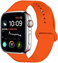 MOOLLY for Watch Band 42mm 44mm, Soft Silicone Watch Strap Replacement Sport Band Compatible with Watch Band Series 5 Series 4 Series 3 Series 2 Series 1 Sport & Edition (42mm 44mm S/M, Orange)
