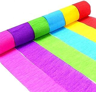 Rollos de papel crepé, papel de seda decorativo, 6 colores, para decoración de pared, puerta, techo, para festival, cumpleaños, boda, fiesta de bienvenida de bebé, decoración de ceremonias Rainbow