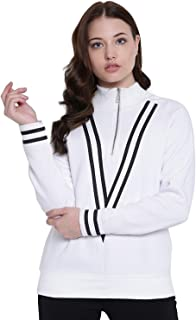 TEXCO White Mock Neck Women Sweatshirt