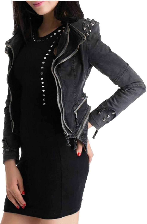 Gocgt Women Studded Shoulder Lapel Denim Jeans Tuxedo Coat Jacket