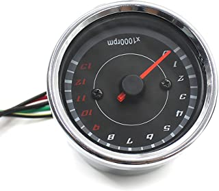 PIXNOR Motorcycle Tachometer Speedometer Speed Meter with Led Backlight Silver