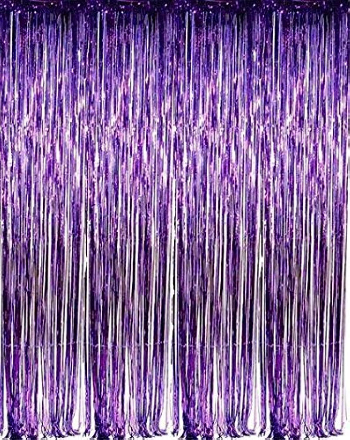zhcoy Set of 2 Purple Foil Fringe Door & Window Curtain Party Decoration 3' X 8' (36