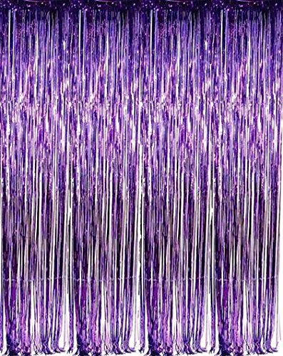 zhcoy Set of 2 Purple Foil Fringe Door & Window Curtain Party Decoration 3' X 8' (36' X 96') Value Pack of 2