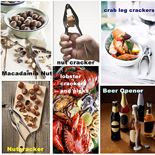 HQGOODS Seafood Tools Set Nut Cracker of 12 Pieces with 6 Lobster Crab Crackers and 6 Seafood Forks//Picks with Storage Bag perfect for home,party,picnic,dating