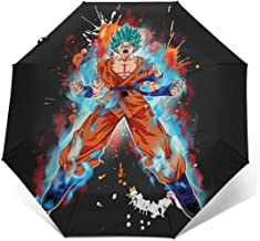 Xintaishirunjinluyoufazhany Goku Super Saiyan Blue Kaioken 10x UV Protection Trifold Umbrella Sun Anti-UV Compact Travel Windproof Folding Automatic Open Auto Close for Unisex