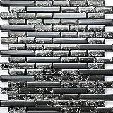 Piastrelle Mosaico in Vetro Effetto rotto Nero e Vetro Trasparente effetto chrush (mt0074)