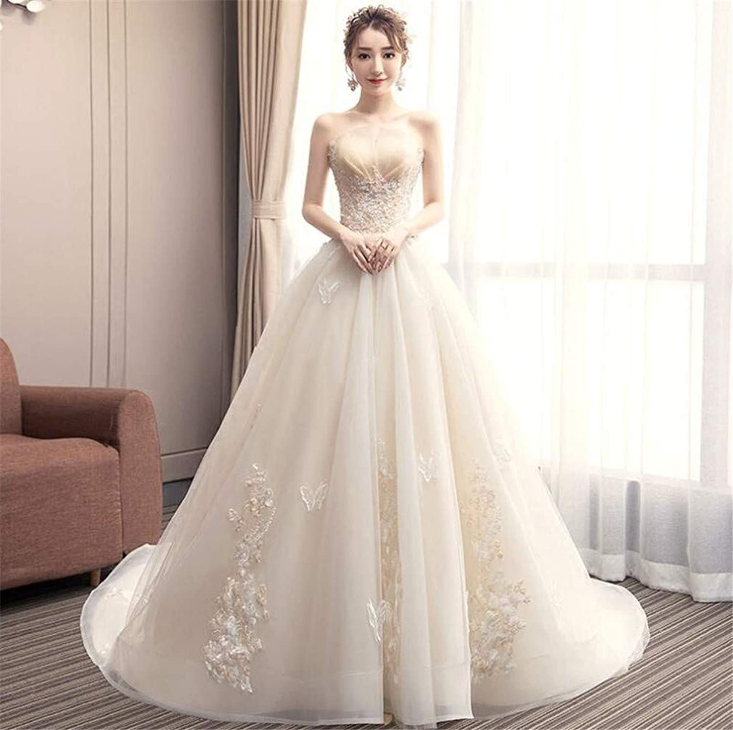 Wedding Dress, Europe and America Elegant Champagne Tube Top Strapless Strap 3D Hand Embroidery Trailing Temperament Princess Dinner Dress