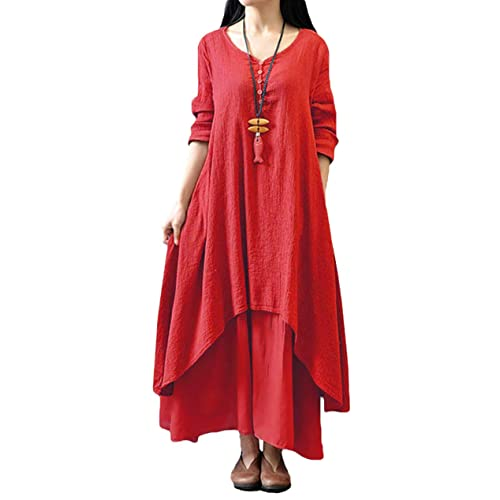 69cd29b9b7e10 Romacci Women Boho Dress Casual Irregular Maxi Dresses Vintage Loose Long  Sleeve Cotton Viscose Dress,
