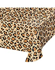 Creative Converting All Over Print Leopard Design Plastic Table Cover, 108-Inch Length x 54-Inch Width, Brown/Black