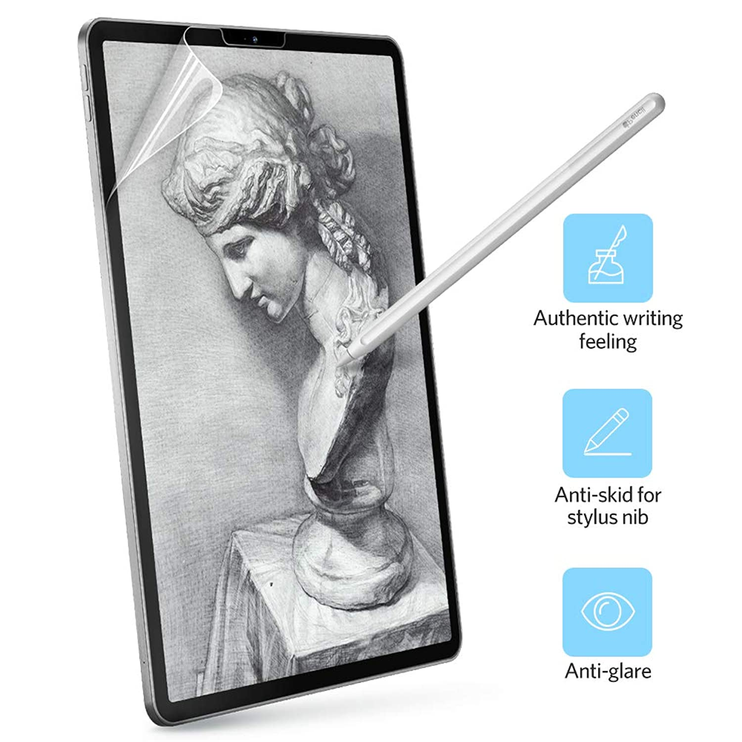 "Benks for iPad Pro 12.9 Screen Protector Paper-Like Paper-Feel PET Film Writing [Apple Pencil 2nd Generation Compatible] Anti Glare/Scratch/Fingerprint for Apple iPad Pro 12.9"" (2018)"
