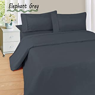 Soft & Luxurious HS Linen !! 4-Pieces Comfortable SOLID Pattern Bed Sheet Set :- Grey made from Egyptian Cotton Fits Mattress upto 22