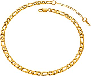 Figaro Men Necklace Chains 18K Gold Plated Stainess Steel/Black Neck Link Jewelry Gift, 4mm, 6mm, 9mm Width 18''- 30'' Sizes