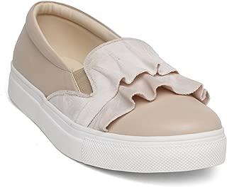 KANABIS Women's Velvet Touch-Cream Fashion Sandals