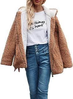 Womens Stylish Hooded Warm Solid Artificial Wool Cashmere Jacket Coat Ladies Streetwear Winter Parka Outerwear
