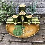 QXTT Bambus Wasserspiel Gartendeko Brunnen Wasserfall Mit Pumpe Gartendekoration Bambusbrunnen Bamboo Accents Wasserbrunnen Für Gartenteich Terrasse Balkon Asiatischer Garten Skulptur Statuen,40cm
