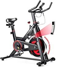 GYMAX Magnetic Exercise Bike, Indoor Stationary Cycling Bike, Noise-Free Smooth Exercise Bike with LCD Monitor for Home Gy...