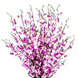 Artificial Orchids Flowers, 10 Pcs Silk Fake Orchids Flowers in Bulk Orquideas Flowers Artificial for Indoor Outdoor Wedding Home Office Decoration Festive Furnishing Purple