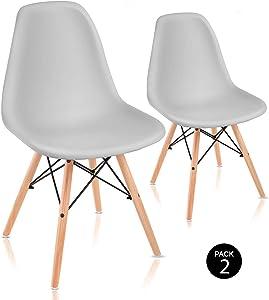 McHaus Sena Gris Claro X2 Pack de Sillas de Comedor de Diseño Nórdico, Haya y Polipropileno, 51x46x82 cm, 2 Unidades