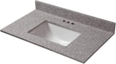 CAHABA CAVT0154 31 in x 19 in Napoli Granite Vanity Top with trough bowl and 4 in faucet spread