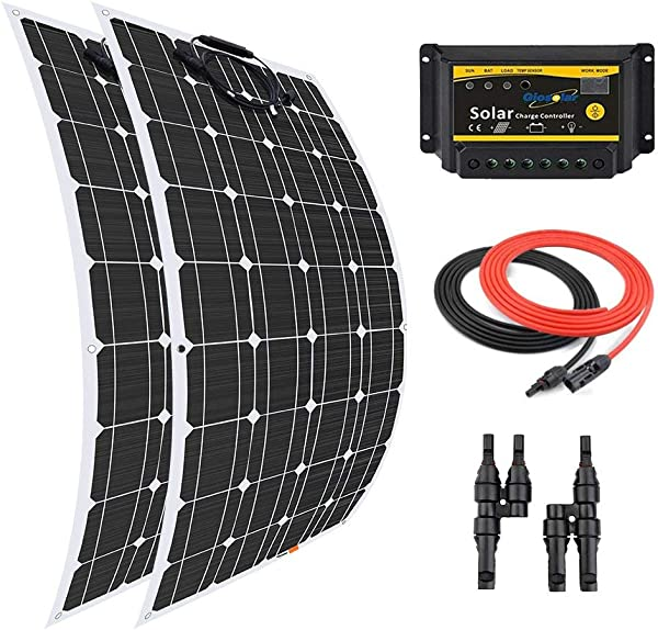 Giosolar 200 Watt 12 Volt Solar Marine Kit Monocrystalline Panel With 20A LED Charge Controller For RV Solar Charging Off Grid System