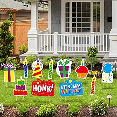 """QPS Honk It's My Birthday Yard Sign with Stakes for Kids and Adults - 14"""" Weatherproof Yard Birthday Signs for Drive by Birthday Decorations - 21 Metal Stakes -11 Total Lawn Signs"""